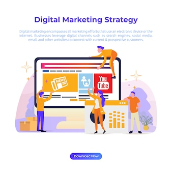 Flat design illustration of digital marketing strategy for online shop or e-commerce