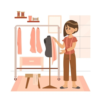 Flat design illustration fashion designer concept