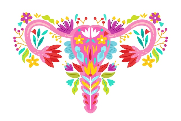 Flat design illustration female reproductive system with flowers