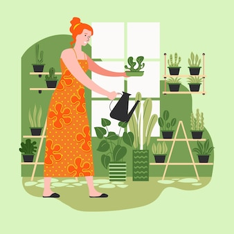 Flat design illustration gardening at home