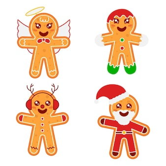 Flat design illustration gingerbread man cookie collection