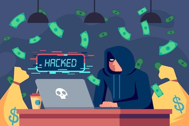 Flat design illustration hacker activity