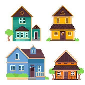 Плоский дизайн иллюстрации домов коллекции