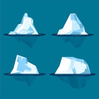 フラットなデザインイラスト氷山セット