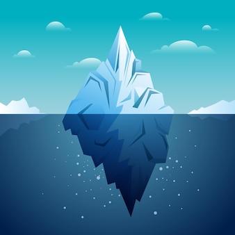 フラットなデザインイラスト氷山