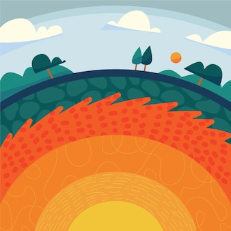 Flat design illustration layers of the planet earth