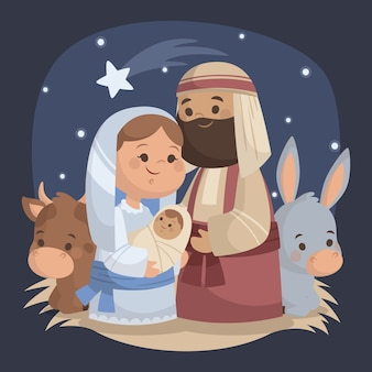 Flat design illustration nativity scene