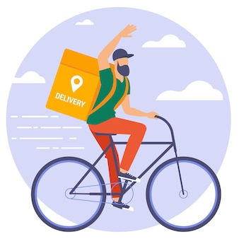 자전거 택배의 평면 디자인 일러스트입니다.