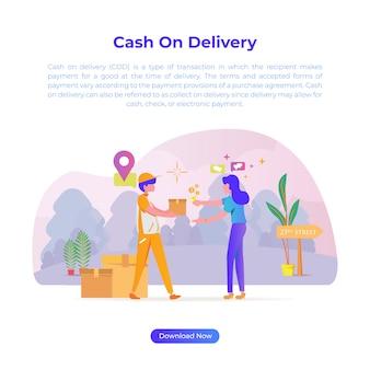 온라인 상점이나 상점 또는 전자 상거래에서 무언가를 구입할 때 배달 현금의 평면 디자인 일러스트