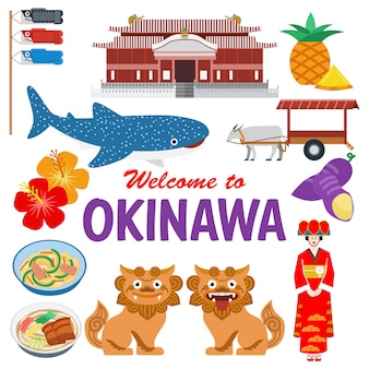 Flat design, illustration of okinawa landmarks and icons,