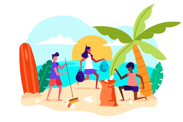 Flat design illustration people cleaning beach