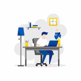 Плоский дизайн иллюстрации люди работают из дома