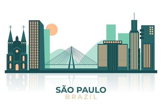 Плоский дизайн иллюстрация сан-паулу на фоне линии горизонта