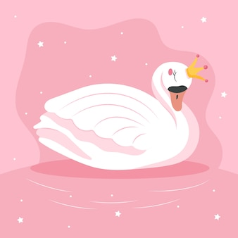 Плоский дизайн иллюстрации принцесса лебедь