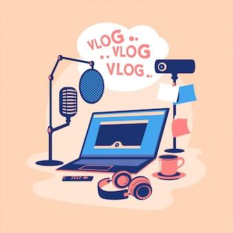 평면 디자인 일러스트 비디오 블로거 개념입니다. 비디오 컨텐츠를 만들고 돈을 버십시오. 비디오 블로거 장비