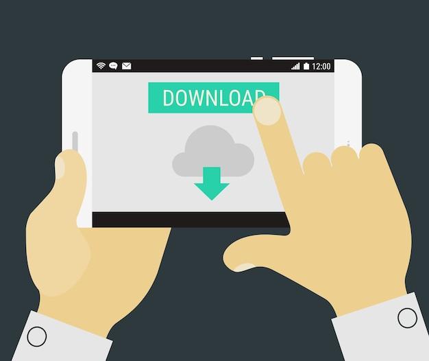 アプリケーションとモバイルデバイスを手に持ってフラットなデザインの図