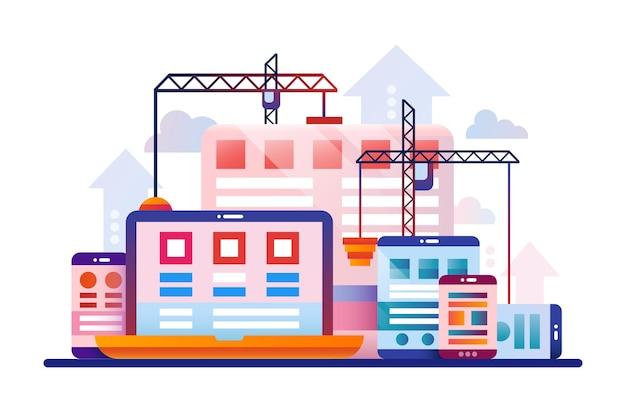 노트북, 모바일 장치, 웹 페이지, 건설 과정과 평면 디자인 일러스트