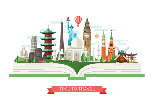 Flat design illustration with world famous landmarks on a book Premium Vector