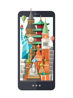Flat design illustration with world famous landmarks on a display
