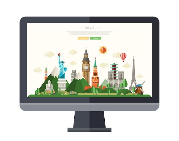 디스플레이에 세계적으로 유명한 랜드 마크와 평면 디자인 일러스트