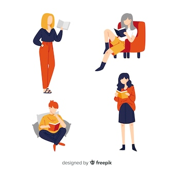 Flat design illustration of women reading