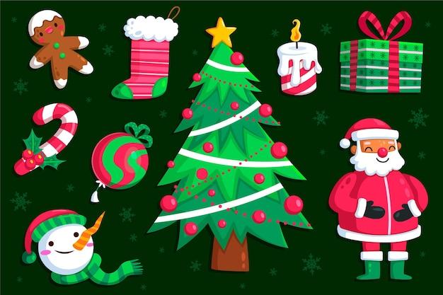 Плоский дизайн иллюстраций рождественский элемент пакета