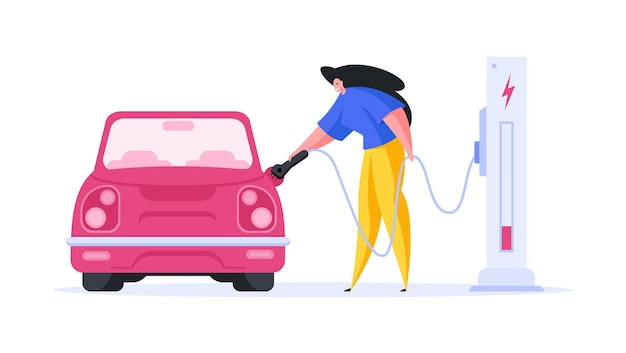 Flat design of image with female character charging modern automobile