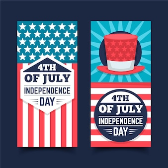 Flat design independence day banners set