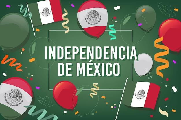 メキシコの背景でフラットなデザインの独立記念日