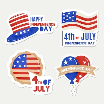 Flat design independence day label set