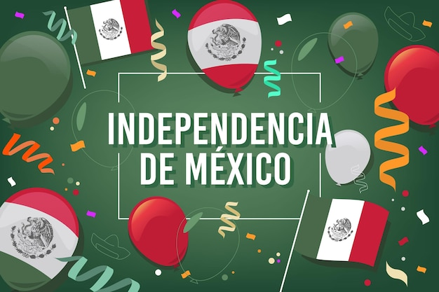 Flat design independence day in mexico background