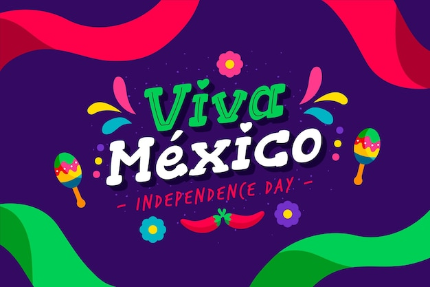 Flat design independence day in mexico wallpaper