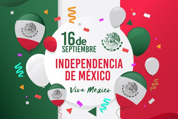 Flat design independence day in mexico