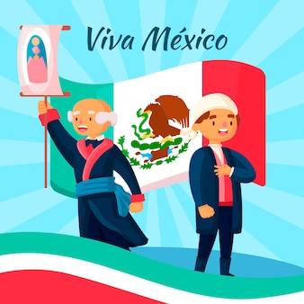 Flat design independence day of mexico