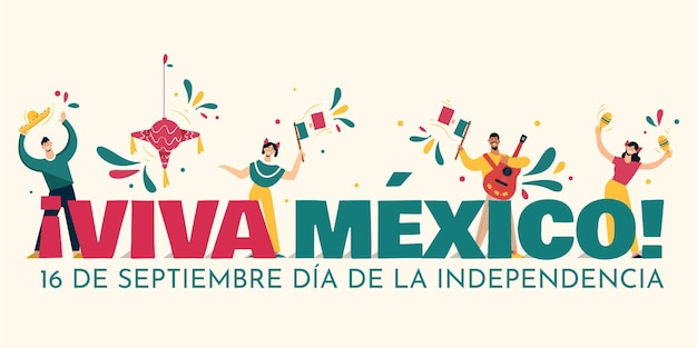 Flat design independencia de méxico background