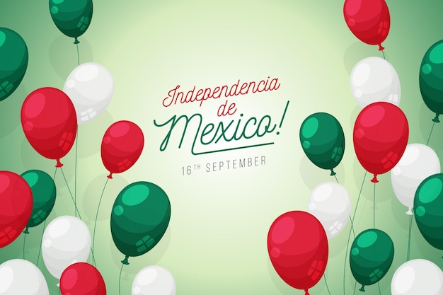 Flat design independencia de méxico balloon background