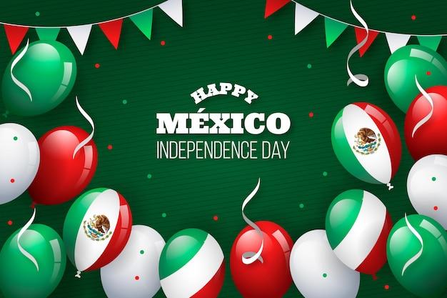 Flat design independencia de méxico balloon background