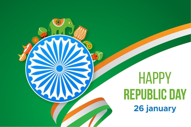 Flat design for india republic day