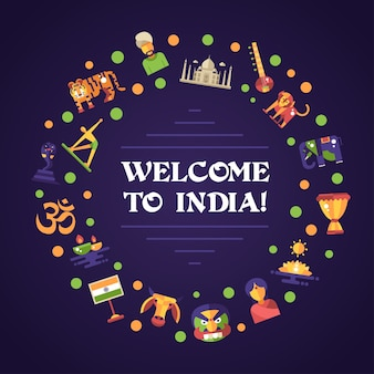 Flat design india travel banner with icons