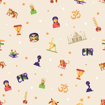 Плоский дизайн индия путешествия шаблон с иконами