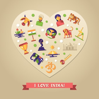 Flat design india travel postcard with icons