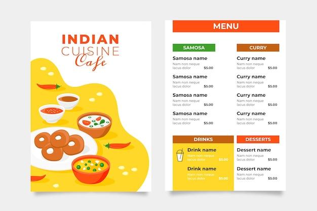 Flat design indian menu template