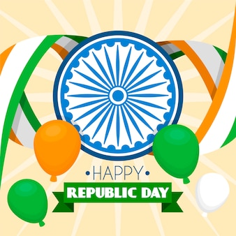 Flat design indian republic day background
