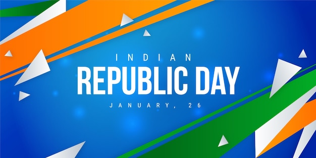 Flat design indian republic day banner template