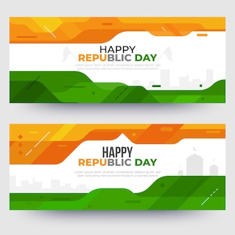 Flat design indian republic day banners template