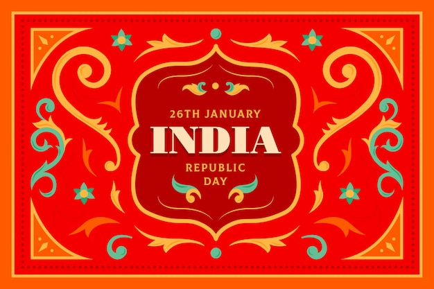 Flat design indian republic day concept