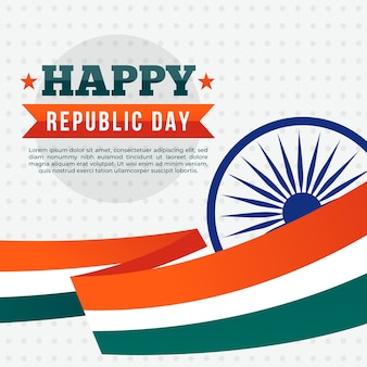 Flat design of indian republic day and flag ribbon