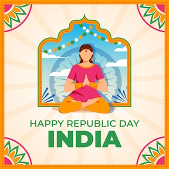 Flat design indian republic day with woman illustration