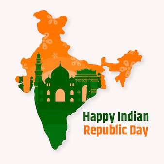 Плоский дизайн день индийской республики