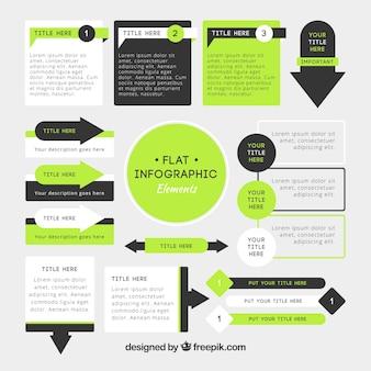 Сбор инфографических элементов плоского дизайна